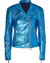 Faith Connexion Electric Blue Leather Jacket