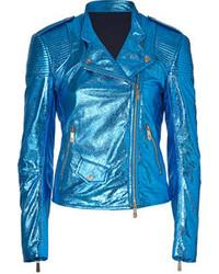 Faith Connexion Electric Blue Leather Jacket