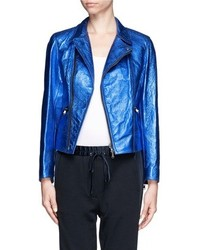 Nobrand Metallic Leather Biker Jacket