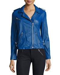 Rebecca Taylor Zip Trim Leather Motorcycle Jacket Electric Blue