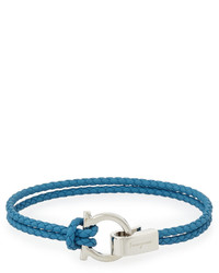 Braided leather gancini bracelet blue medium 641873