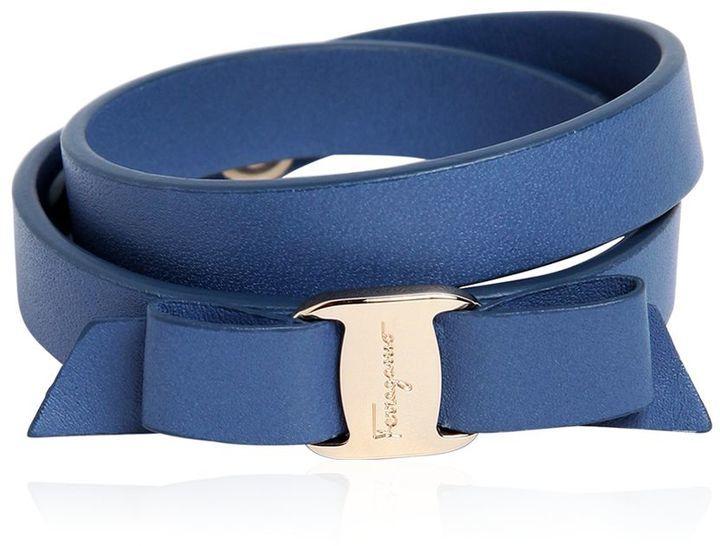 Salvatore Ferragamo Doubled Leather Bracelet W Bow