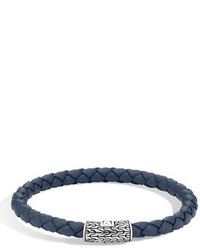 John Hardy Classic Chain Silver Round Woven Bracelet On Leather Cord