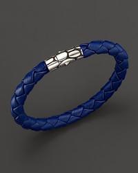 John Hardy Kali Silver Blue Woven Leather Bracelet
