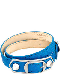Balenciaga Metallic Edge Leather Wrap Bracelet Blue