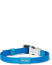 Prada Saffiano Leather Trimmed Webbing Bracelet