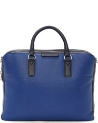 Skipper blue pebbled leather colorblock briefcase medium 142378