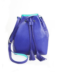 BCBGMAXAZRIA Makenzie Leather Pop Contrast Bucket Bag