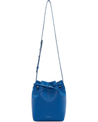 Blue leather mini bucket bag medium 526747