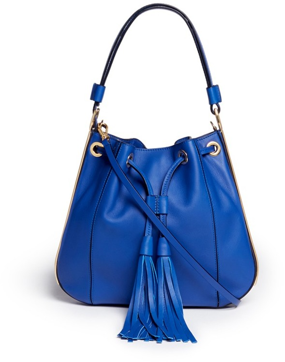 ... Blue Leather Bucket Bags Marni Drawstring Tassel Small Leather Shoulder  Bag ... a02687a2f5a03