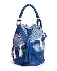 Nobrand Eva Pompom Fringe Leather Bucket Bag