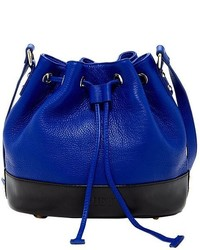 Susu Ava Royal Blue Leather Bucket Bag Drawstring