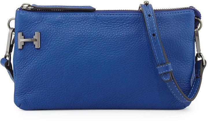 Halston Heritage Leather Double Gusset Clutch Bag Cobalt