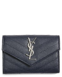 Small monogram leather french wallet blue medium 3996297