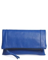 Sole Society Marlena Faux Leather Foldover Clutch Black