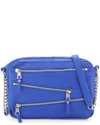 Ash Angel Zip Front Leather Crossbody Bag Sapphire