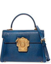 Dolce & Gabbana Lucia Medium Lizard Effect Leather Shoulder Bag Blue