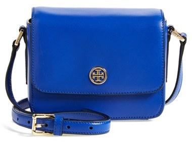 ... Blue Leather Crossbody Bags Tory Burch Mini Robinson Saffiano Leather  Crossbody Flap Bag ... 5be681619
