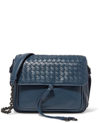 Bottega Veneta Saddle Intrecciato Leather Shoulder Bag Blue