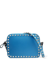 Valentino The Rockstud Leather Shoulder Bag Bright Blue