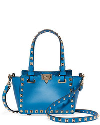 Valentino The Rockstud Micro Leather Shoulder Bag Bright Blue