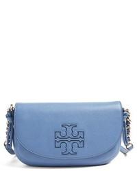 Tory Burch Mini Harper Leather Crossbody Bag Blue