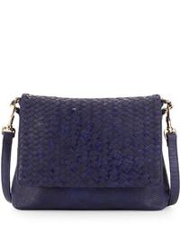 Neiman Marcus Woven Faux Leather Reptile Shoulder Bag Cobalt