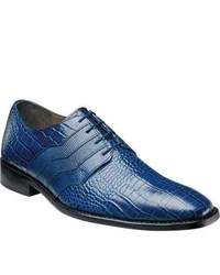 Stacy Adams Gabino 24873 Dark Blue Reptile Print Leather Lace Up Shoes
