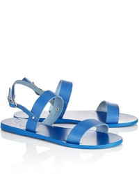 Ancient Greek Sandals Blue Leather Clio Sandals