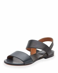 Chloé Chloe Leather Double Band Flat Sandal Abyss Blue