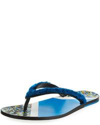 Fendi Confetti Fur Flip Flop Sandal Blue