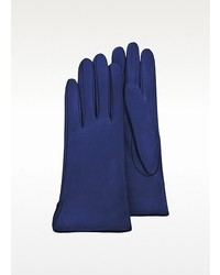 Forzieri Bright Blue Calf Leather Gloves W Silk Lining