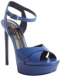 Saint Laurent Blue Leather Bucklestrap Platform Sandals