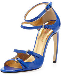 Patent leather strappy sandal blue medium 108555