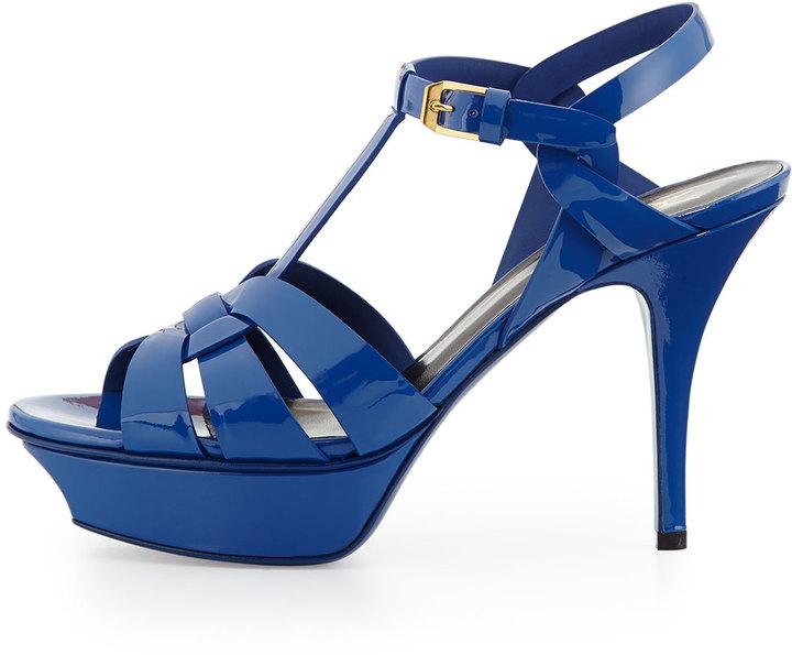 ebbb955a731 Saint Laurent Tribute Mid Heel Leather Platform Sandal Blue Majorelle, $895  | Neiman Marcus | Lookastic.com