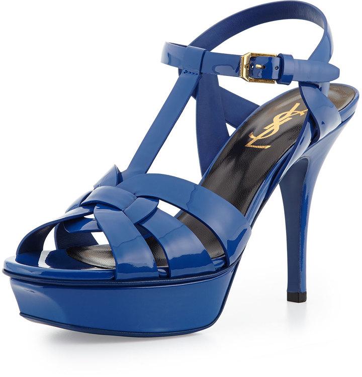 70a9b8efb30 ... Saint Laurent Tribute Mid Heel Leather Platform Sandal Blue Majorelle  ...