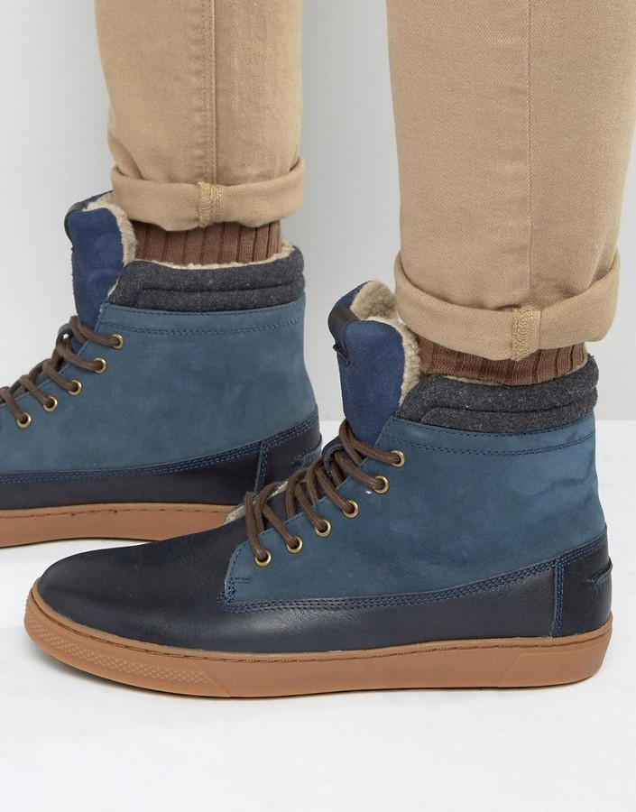 Aldo Divi Leather High Top Sneakers In Blue Leather