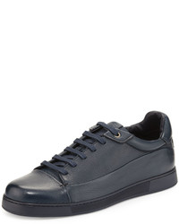 Ermenegildo Zegna Leather Low Top Sneaker Navy