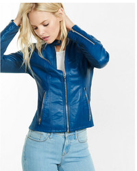 Blue double peplum leather jacket medium 5082653