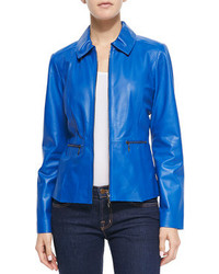 Zip front pinched collar leather jacket medium 95985