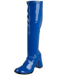 Blue Leather Knee High Boots