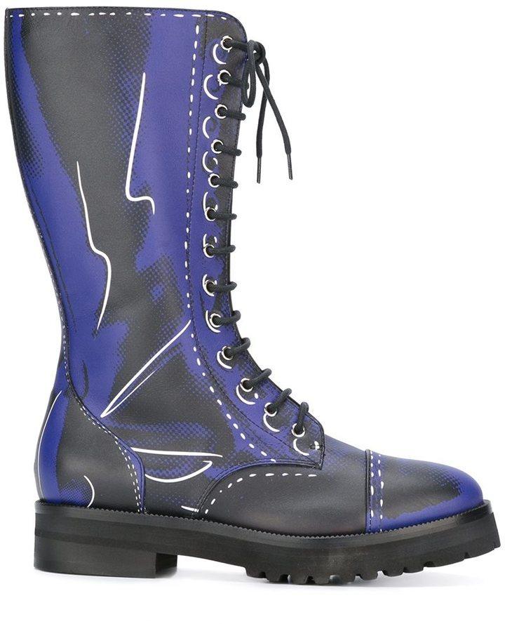 Moschino Trompe Loeil Knee Length Boots