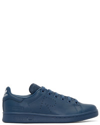 Blue Leather Low Top Sneakers
