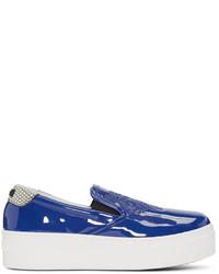 Kenzo Blue Patent Platform Sneakers