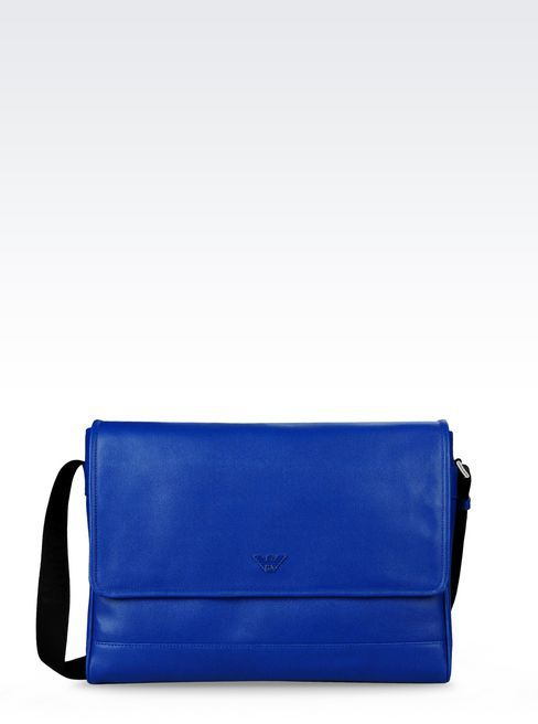 Blue Leather Messenger Bags Emporio Armani Bag In Saffiano Calfskin