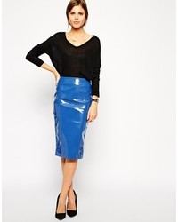Pencil skirt in patent pu medium 150478