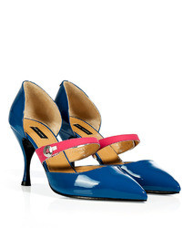 Marc Jacobs Blue Saharapink Patent Leather Mary Janes