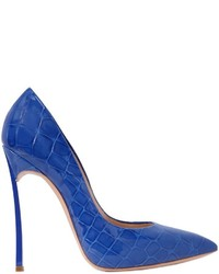 Casadei 120mm Blade Croc Embossed Leather Pumps