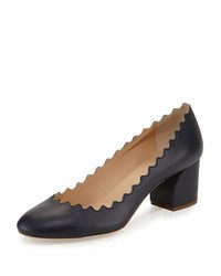 Chloé Chloe Scalloped Leather Block Heel Pump Navy