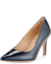 Neiman Marcus Cissy Patent Leather Pointed Toe Pump Navy